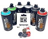 Montana Black Sprühdosen Set, Pocket Cans in 6 Farben + 10 Ersatzsprühköpfe - 6 x 150ml