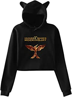 Woman The Hunger Games Mockingjay Mark Umbilicus with Hood Cat Ears Long Sleeves Fashion Suit Black