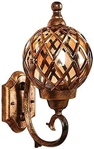 Lámpara de pared americana para exteriores, impermeable y a prueba de óxido, lámpara de pared LED de cobre, lámpara de pared esférica, jardín, villa, pasillo, balcón, lámpara de pared decorativa