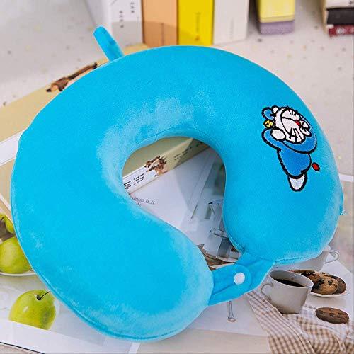 Gecfun Almohada para El Cuello con Memoria De Algodón En Forma De U Creativa Multicolor Almohada para El Cuello De La Siesta Juguetes De Peluche 25 * 35 Blue Ding-Dong Cat