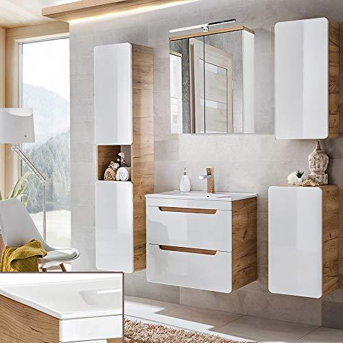 Lomadox Badmöbel Komplett Set, Hochglanz weiß mit Wotaneiche, 60cm Waschtischunterschrank & Keramik-Waschtisch & LED-Spiegelschrank