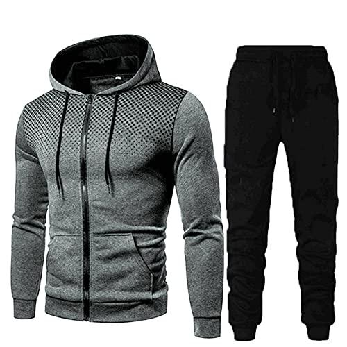 Men's Tracksuit 2 Piece Hooded Athletic Sweatsuits Dots Print Zip Up Sweatsuits Running Jogging Sport Suit Sets Activewear