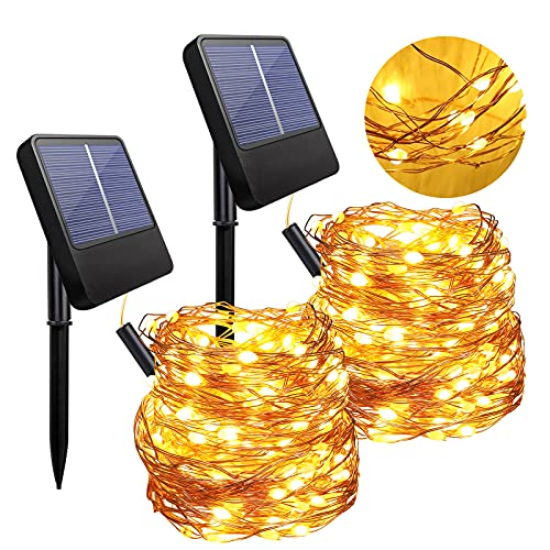 Anpro Solar String Light Outdoors - 2 Pack of 100 LED 10 Meters Warm White Outdoor String Lights with 8 Lighting Modes to Decorate Garden, Yard, Portch, Solar Powered IP65 Waterproof