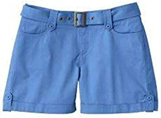 Lee Womens One True Fit Blue or Green Button Tab Cuffed Casual Shorts & Belt