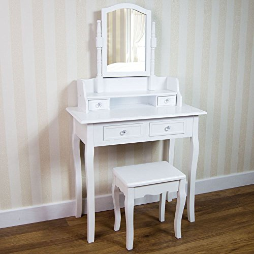 Vida Designs Nishano Dressing Table With Stool 4 Drawer Adjustable Mirror Bedroom Set Makeup Cosmetics Dresser Furniture, White