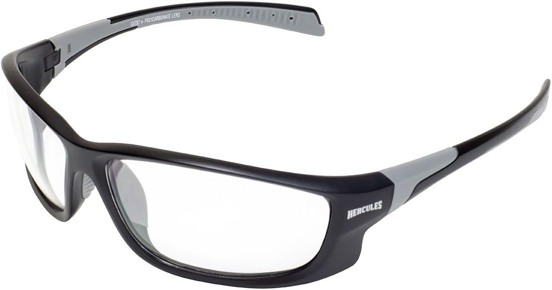 Visión Global Eyewear Hercules 5Gafas de Seguridad con Negro Mate Marco y Claro Lentes