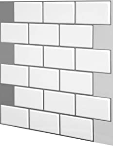 """Tic Tac Tiles 12""""x 12"""" Peel and Stick Self Adhesive Removable Stick On Kitchen Backsplash Bathroom 3D Wall Sticker Wallpaper Tiles in Subway Designs (10, Mono White)"""