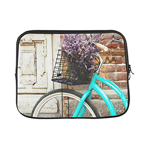 InterestPrint Vintage Bicycle with Basket and Lavender Flowers Near The Old Wooden Door 13 13.3 Inch Waterproof Neoprene Laptop Sleeve Notebook Pocket Case Bag for MacBook Pro Dell HP Acer Woman Man
