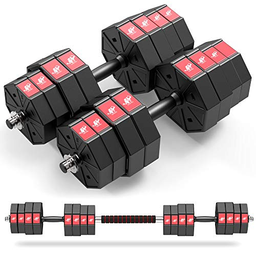 LEADNOVO Adjustable Weights Dumbbells Set, 44Lbs 66Lbs 88Lbs 3 in 1 Adjustable Weights Dumbbells Barbell Set, Home Fitness Weight Set Gym Workout Exercise Training with Connecting Rod for Men Women