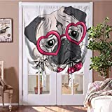 GugeABC Blackout Curtains for Bedroom Pug Thermal Insulated Adjustable Balloon Fashionable Dog with Heart Shaped Glasses and Dotted Bow Tie I Love Pugs Drawing 48' W x 72' L Pink Grey White