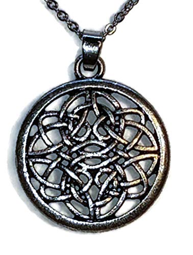 Celtic Knot Circle Silver-Toned Pendant Necklace