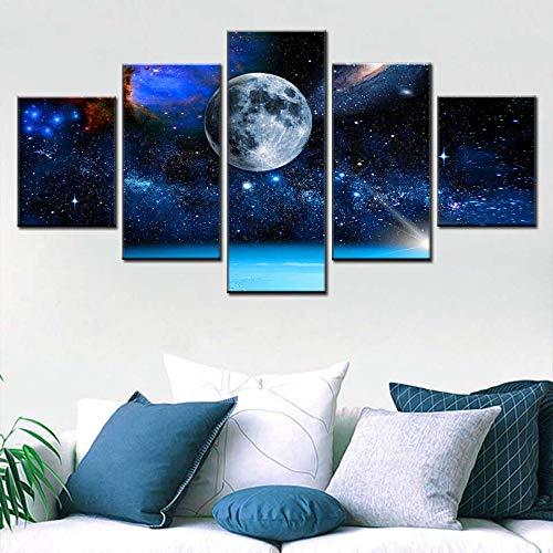 Zaosan HD Peinture Toile Peinture 5 Panneau Terre Monde Univers étoile Nordique Affiche Salon étude