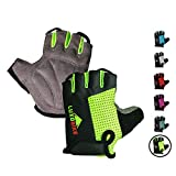 Cycling gloves (Green - Half finger, Medium)