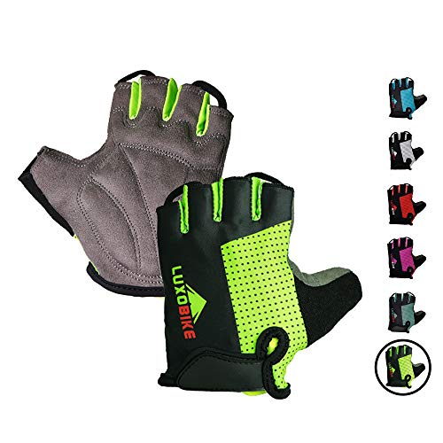 Cycling gloves (Green - Half finger, X-Large)