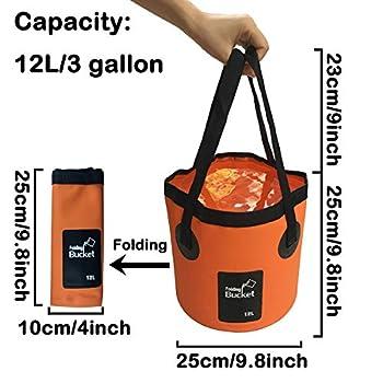 MMSGA Seau Pliable, 12L et 20L Seau de pêche Pliable Portable Multifonctionnel - Seau Pliant pour Bassin de Lavage - Conteneur d'eau pour la pêche-Camping-Jardinage (Orange, 20L)