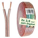 erenLINE® 10 m Lautsprecher-Kabel 2X 2,5 mm² transparent; Boxenkabel; Lautsprecher-Verlegekabel: für HiFi Anlage, Home Cinema, KFZ/Auto, Multi-Media; Meterware