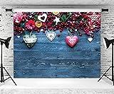 Fondo para fotografía del día de San Valentín, fondo de madera azul, rosa roja, fondo para sesión de fotos de boda, aniversario, estudio de fotos (210 x 150 cm)