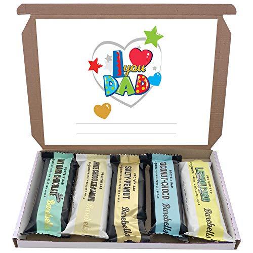 Barebells High Protein Bars 5x55g Chocolate Gift Hamper Box Low Sugar Mixed Bar (I Love You Dad)