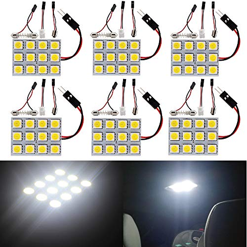 Everbright 6-Pack White Led Panel Dome Light Lamp, 5050 12SMD Led Interior Car Lights Auto Led Dome Lights Interior with T10 /BA9S/ Festoon Adapters, DC-12V
