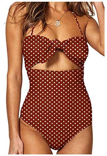 Billiant Woman's Dot Print Beandeau 1 Piece Swimsuit Tie Knot Front High Waist Bathing Suits L