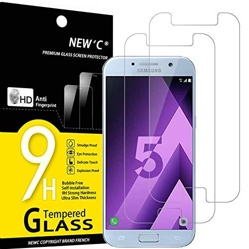 NEW'C 2 Pezzi, Vetro Temperato Compatibile con Samsung Galaxy A5 2017 (SM-A520F), Pellicola Prottetiva Anti Graffio, Anti-Impronte, Durezza 9H, 0,33mm Ultra Trasparente, Ultra Resistente