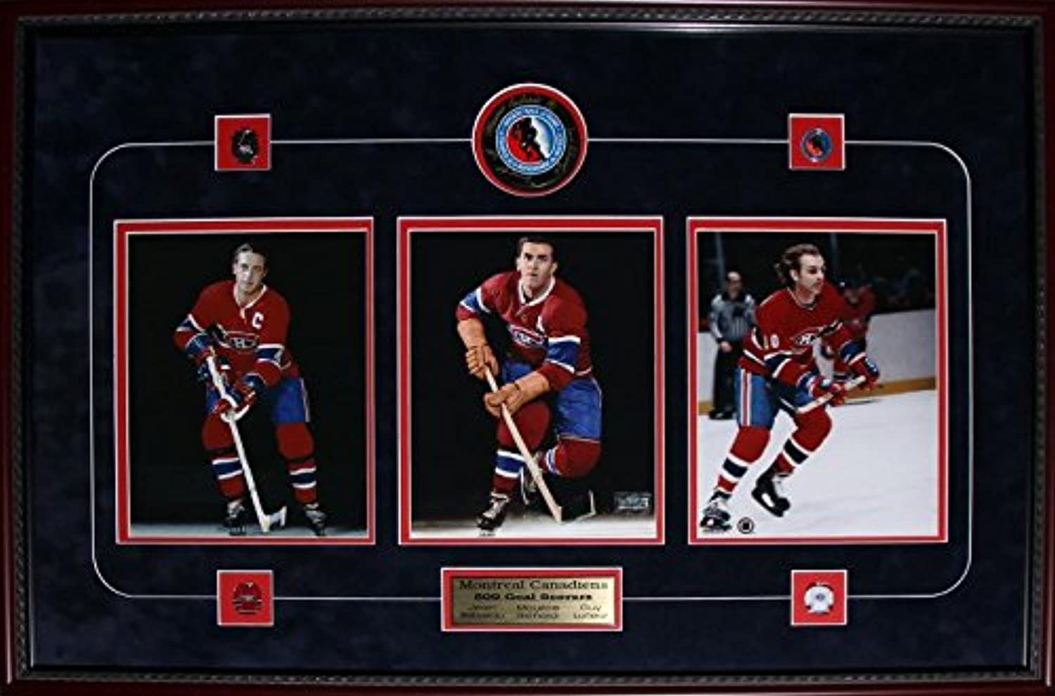 Montreal Canadiens 3 Photo with Puck Signed by Maurice Richard Jean Beliveau Guy Lafleur