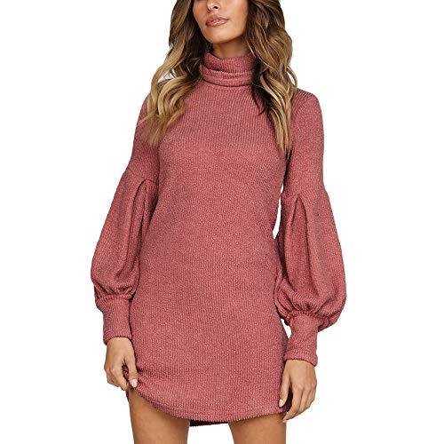 Sunday Damen Pullover Minikleid Herbst Winter Kleid Casual Mode Pulli Kleid Langarm Strickkleid Rollkragenpullover Kleid Abendkleid Club Partykleid...