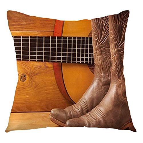 FULIYA Western Throw Pillow Cushion Cover American Country Music Theme Guitar Instrument and Cowboy Shoes on Wood Image Decorative Square Accent Pillow Case, 20' X 20',Brown Orange