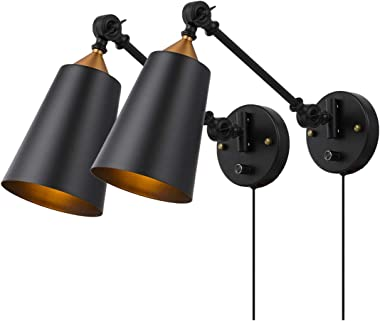 Pauwer Industrial Plug in Wall Sconces Set of 2 with On Off Switch Vintage Edison Swing Arm Wall Lamp Black Metal Shade Wall