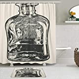 LISNIANY Conjunto De Ducha Cortina Alfombra,Vintage Jarra Whisky Grabado Botella Malt Whisky Bourbon Scotch,Uso en baño, Hotel