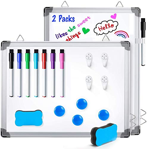 """12"""" x 16"""" White Boards, Ohuhu 2 Packs Double Side Magnetic Hanging Whiteboards/Dry Erase Board with 8 Whiteboard Markers, Dry Erase White Board for Fridge, Wall, Glasses, Home Office Aluminum Frame"""