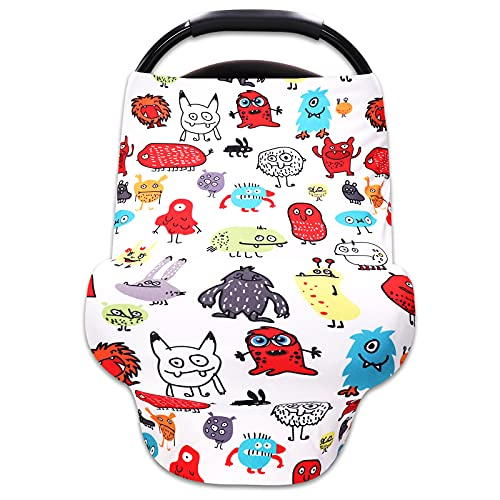 Baby Car Seat Cover Summer Breathable Multiuse Infant Carseat Canopy for Newborn Boys Girls Breastfeeding Nursing Covers (Little Monster)