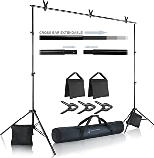 Julius Studio Photo Video Studio 10 ft. Wide Cross Bar 7.3 ft. Tall Backdrop Stand, Background Support System Kit with Clamp, Sand Bag, Carry Bag, Photography Studio, JSAG283