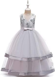 Luxury Large Princess Dress Girls Sleeveless V-Neck Embroidered Dress Long Section of Mopping The Floor Skirt Dress Skirt Girls Princess Party Dress Wedding Dress Show ryq