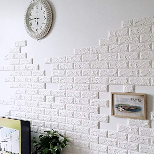 SATYAM KRAFT PE Foam Wall Stickers 3D Self Adhesive Wallpaper (White) 76 cm x 69 cm - 4 Pieces Wallpaper Covers 22.5 Sq Feet Approx