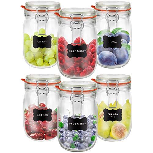Creative Home 6 x Tarros de Cristal Herméticos con Tapa | 6...