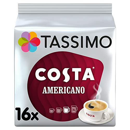 Tassimo Costa Americano Coffee Pods (Case of 5, Total 80 pods, 80 servings)