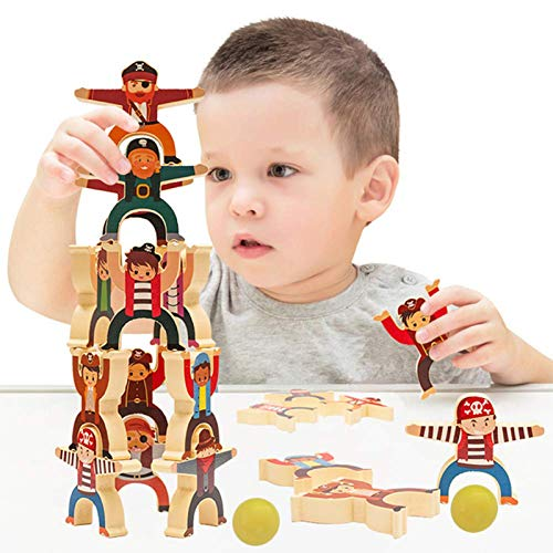 Wooden Pirate Stacking Toys Game Educational Development Set