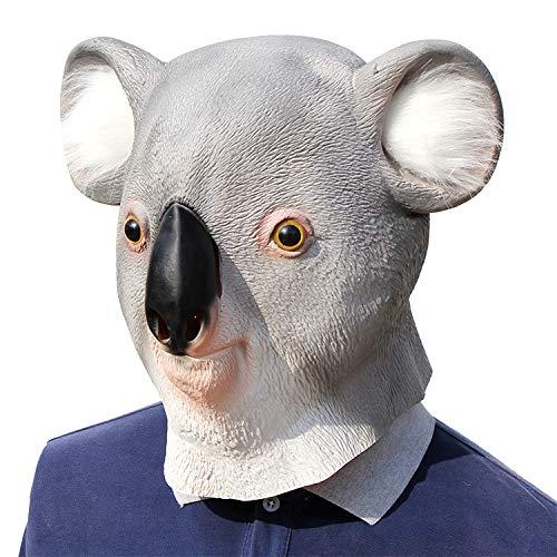 Ydq Koala Horror Halloween KostüM Masken,Grauens Latex Voll Maske Tier Lustige Kopfbedeckung, Cosplay Masquerade Party Masken Erwachsenen Ideal FüR Karneval Motto