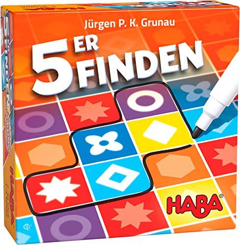 HABA 305283 - 5ER FINDEN, Familienspiel ab 7 Jahren, Spiel mit 2 Spieloptionen und einer Solovariante, auch bei Farbenblindheit geeignet