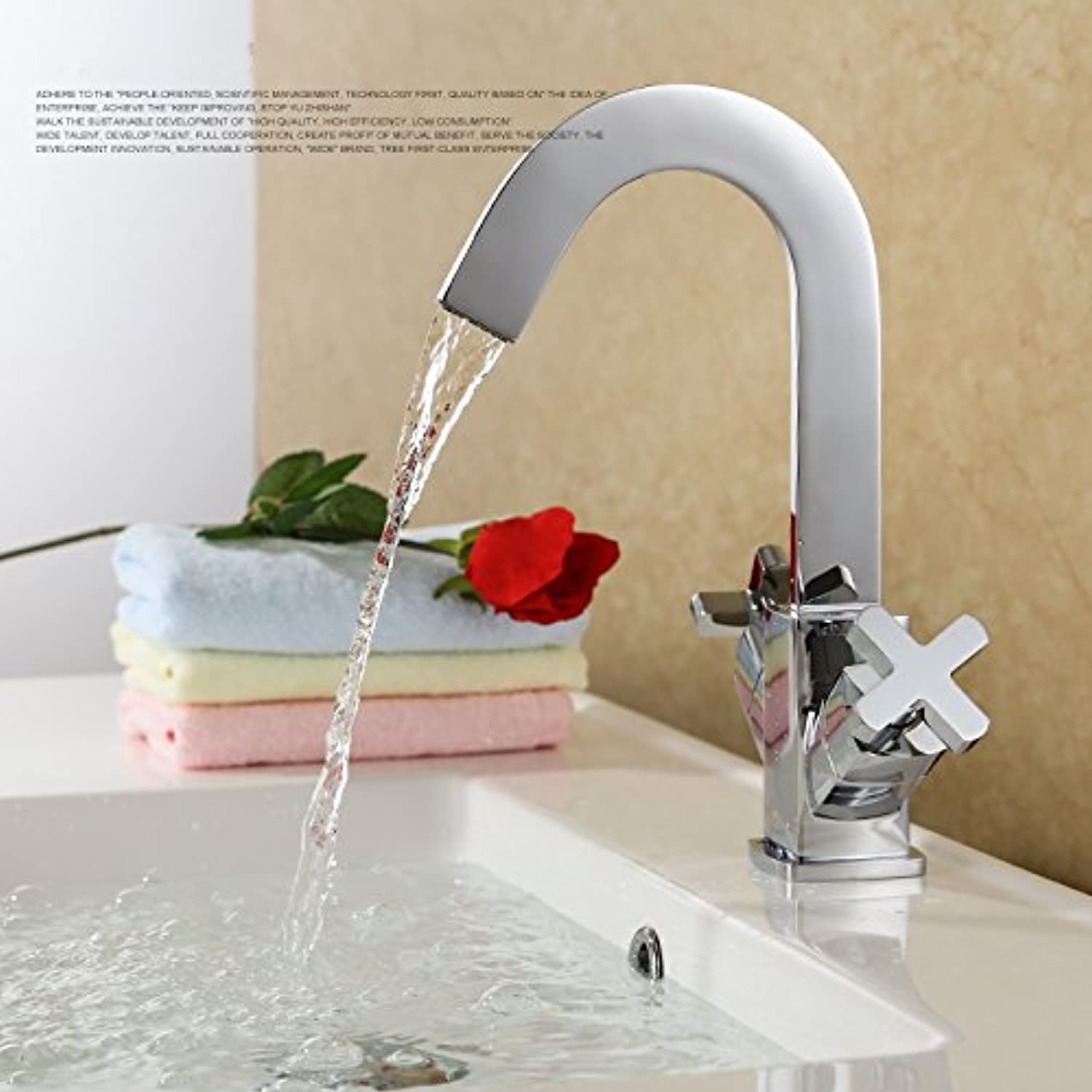 CZOOR Bathroom Sink Mixer Tap Chrome Bathroom Solid Brass Two Handle Double Control Square Basin Faucet Lavatory Mixer Faucet Hot And Cold Water Tap, Chrome