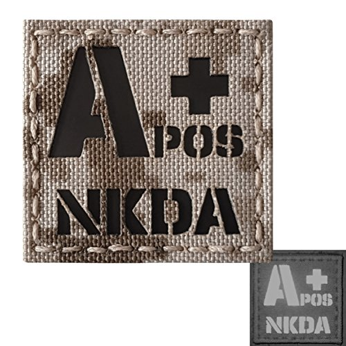 Tan Digital Desert AOR1 Infrared IR APOS NKDA A+ Blood Type 2x2 Tactical Morale Fastener Patch