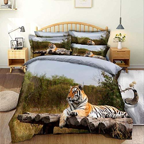 WGLG Double Bed Duvet Sets, 3D Printing Sunset Tiger 2/3Pcs Animal Pattern Bedding Set Duvet Cover Set And Pillowcases Home Textiles Bedding Set