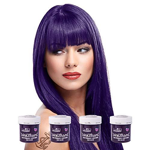 4 x La Riche Directions Semi-Perm Hair Colour Deep Purple 4x 88ml