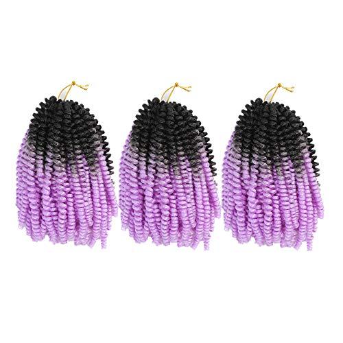 "Yisimei Spring Twist Hair Ombre Color 3PCS/Lot Spring Twist Crochet Hair 18 Colors Avaliable Hight Temperature Fiber Hair Extensions (8"" 3PCS/Lot, B7)"