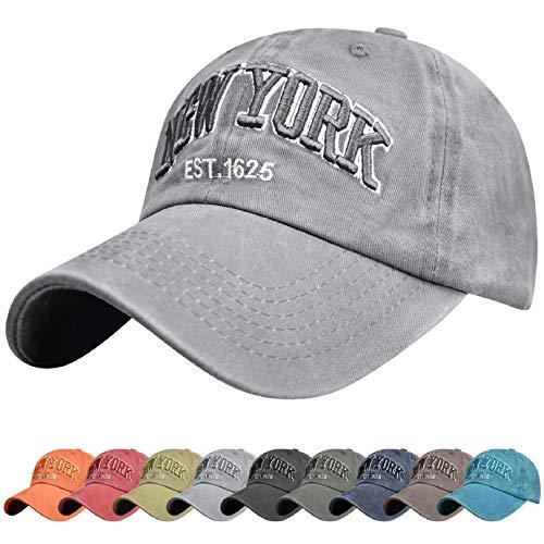 Voqeen Gorra de Beisbol Sombrero de Gorra Ajustable con Bordado New York Gorra de Vintage Algodón de Verano al Aire Libre Cap para Hombres Mujeres (Gris)