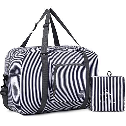 WANDF Foldable Travel Duffel Bag Luggage Carry on Sports Gym Water Resistant Nylon for Women (B-Blue Strip)