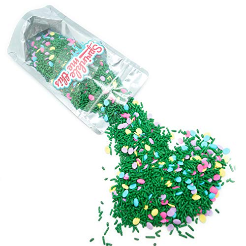 Easter Egg Hunt Sprinkle Mix - 4 OZ Resealable Standup Candy Bag - Pastel Quins in Pink, Blue, Lavender, Yellow and Green Jimmies - Bulk Sprinkles for Holiday Baking and Decorations