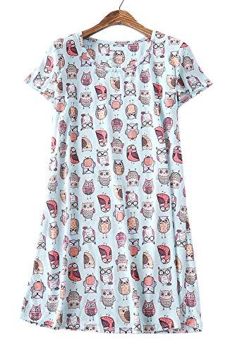 Zexxxy Nachtwäsche Damen Eule Printed Kurzarm Nachthemd Rundhals Nachtkleider Nachtshirt Pyjama Kleid Blau S