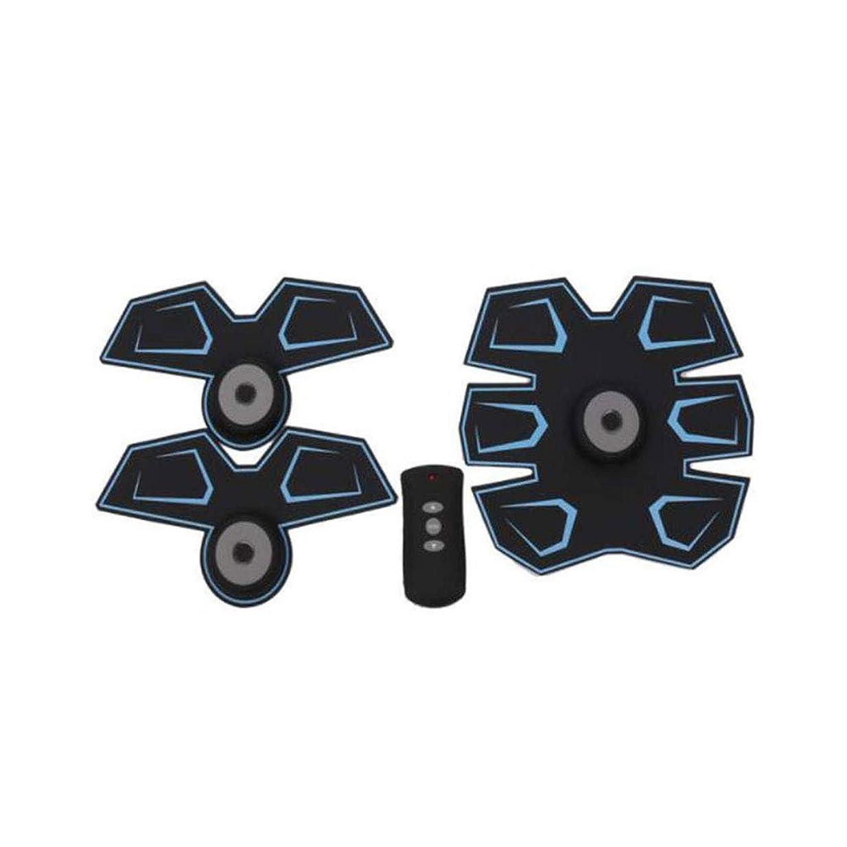 引き出す些細熟読GWM 腹部マッサージャー筋肉フィットネス装置、腹部電気刺激装置EMS腹部トレーナー、ワイヤレス電子フィットネスマッサージャーセット腹部腕脚ユニセックス(青)